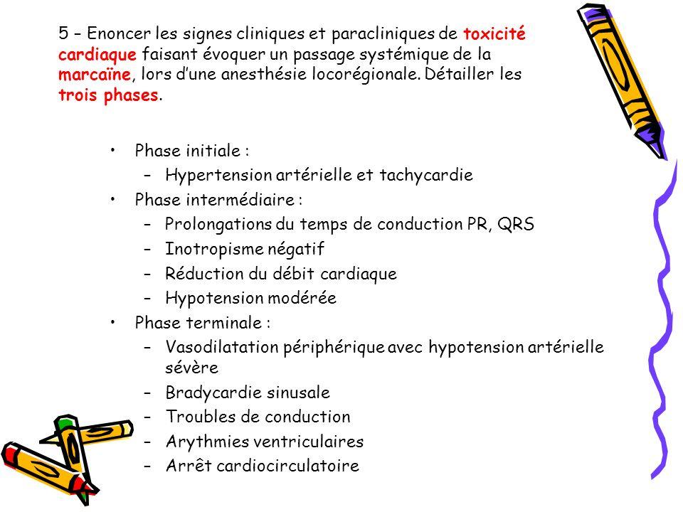 5 – Enoncer les signes cliniques et paracliniques de toxicité cardiaque faisant évoquer un passage systémique de la marcaïne, lors d'une anesthésie locorégionale. Détailler les trois phases.