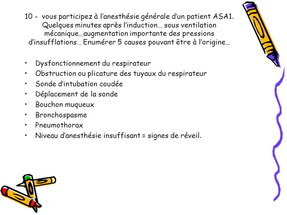 10 - vous participez à l'anesthésie générale d'un patient ASA1