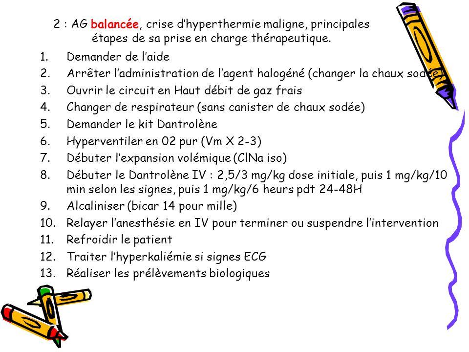 2 : AG balancée, crise d'hyperthermie maligne, principales étapes de sa prise en charge thérapeutique.