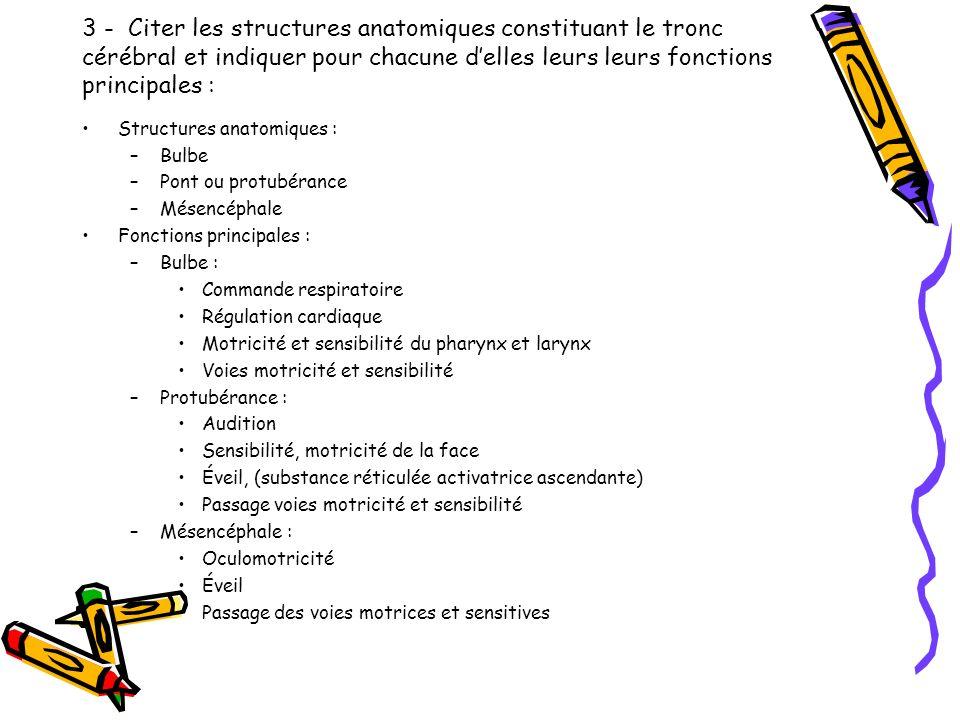 3 - Citer les structures anatomiques constituant le tronc cérébral et indiquer pour chacune d'elles leurs leurs fonctions principales :