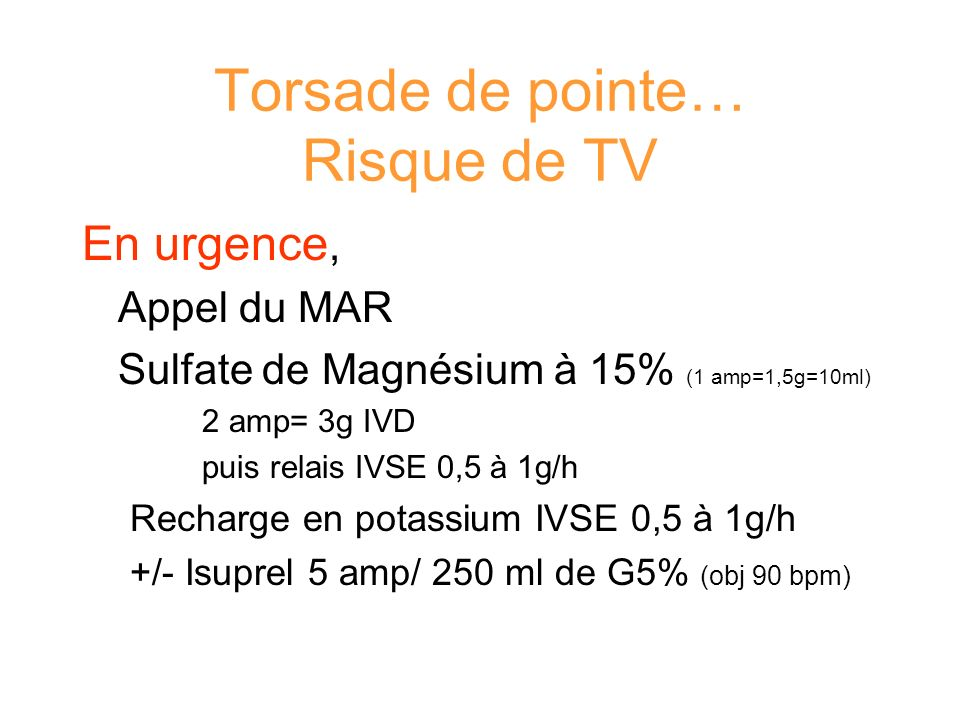 Torsade de pointe… Risque de TV