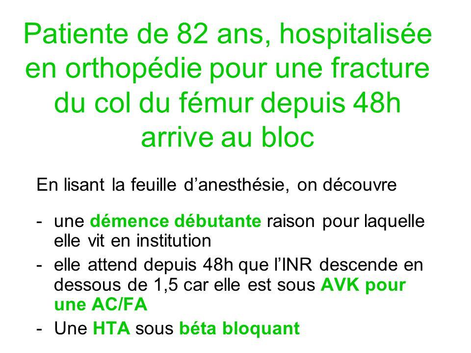 Patiente de 82 ans, hospitalisée en orthopédie pour une fracture du col du fémur depuis 48h arrive au bloc