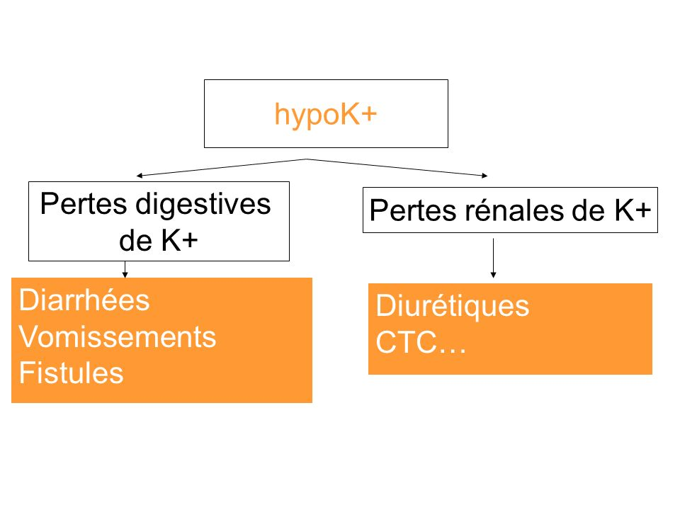 hypoK+ Pertes digestives. de K+ Pertes rénales de K+ Diarrhées. Vomissements. Fistules. Diurétiques.