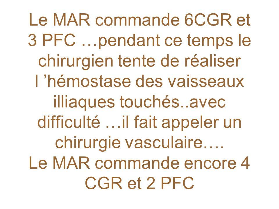 Le MAR commande 6CGR et 3 PFC …pendant ce temps le chirurgien tente de réaliser l 'hémostase des vaisseaux illiaques touchés..avec difficulté …il fait appeler un chirurgie vasculaire….