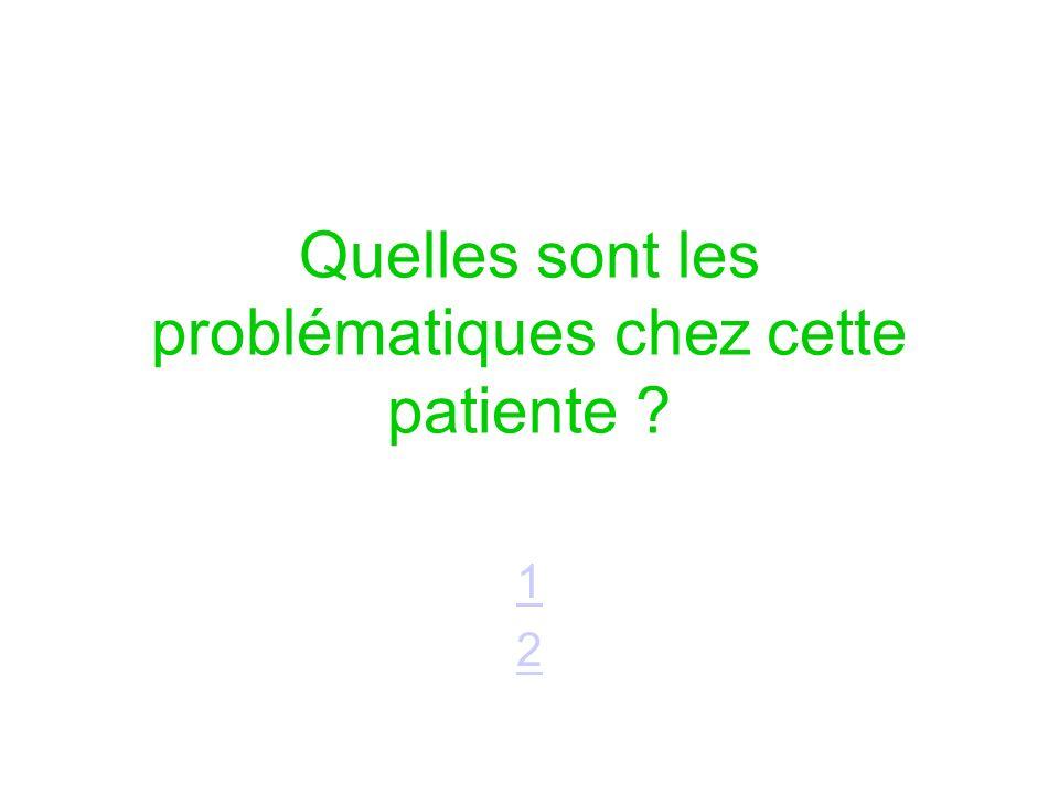 Quelles sont les problématiques chez cette patiente