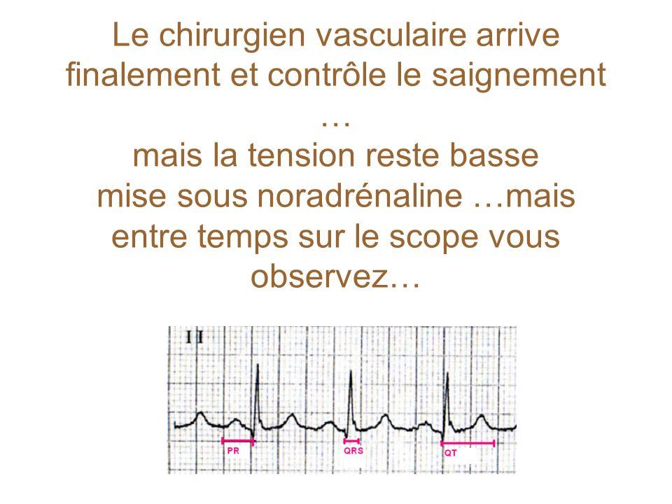 Le chirurgien vasculaire arrive finalement et contrôle le saignement … mais la tension reste basse mise sous noradrénaline …mais entre temps sur le scope vous observez…