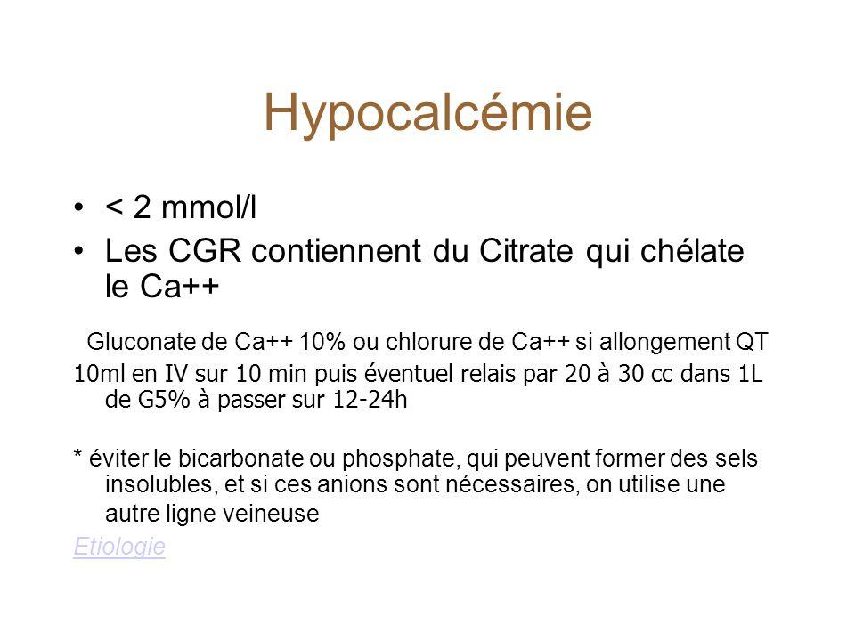 Gluconate de Ca++ 10% ou chlorure de Ca++ si allongement QT
