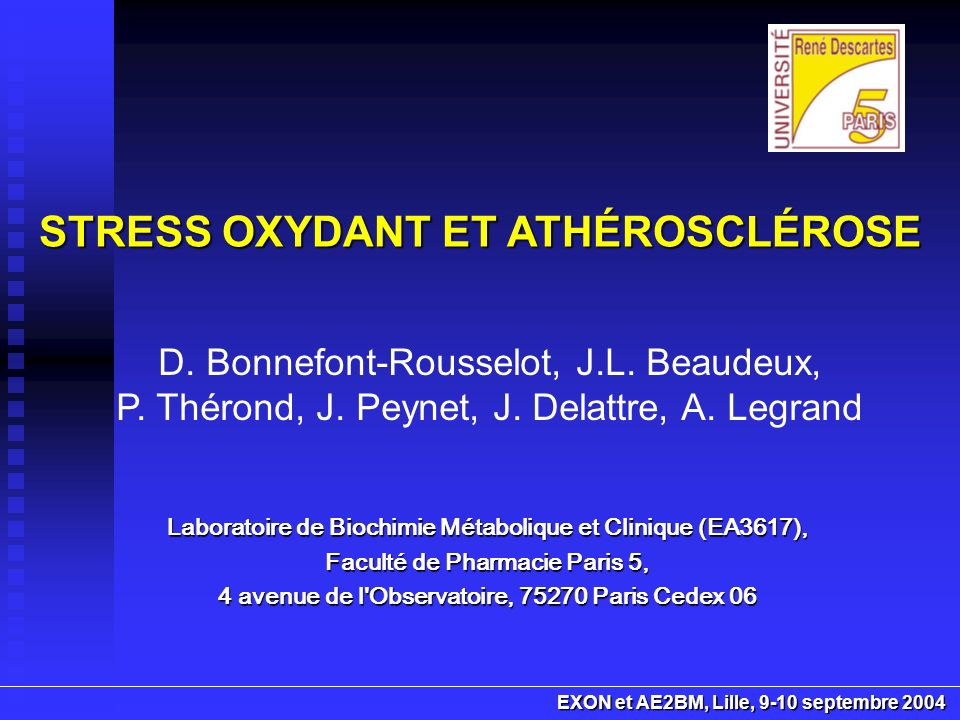 STRESS OXYDANT ET ATHÉROSCLÉROSE