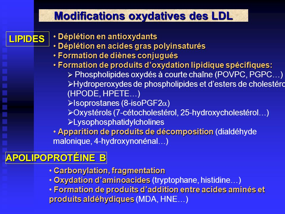 Modifications oxydatives des LDL
