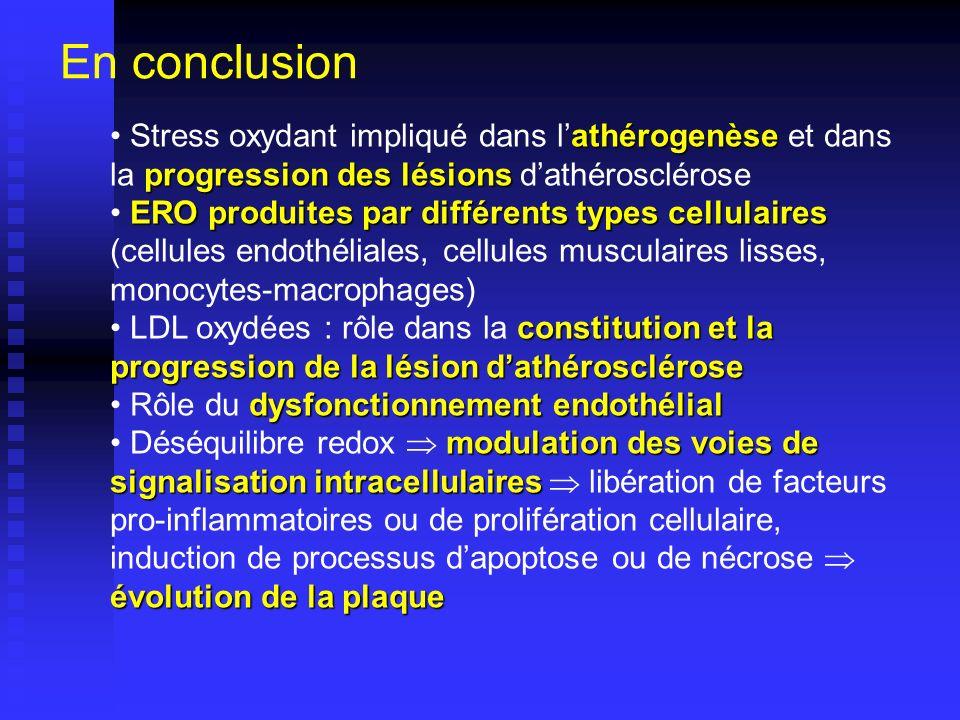 En conclusion Stress oxydant impliqué dans l'athérogenèse et dans la progression des lésions d'athérosclérose.