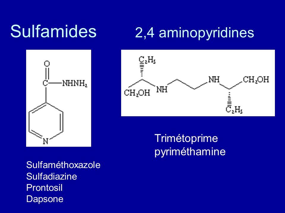 Sulfamides 2,4 aminopyridines Trimétoprime pyriméthamine