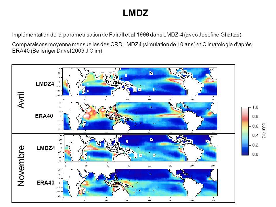 LMDZ Implémentation de la paramétrisation de Fairall et al 1996 dans LMDZ-4 (avec Josefine Ghattas).