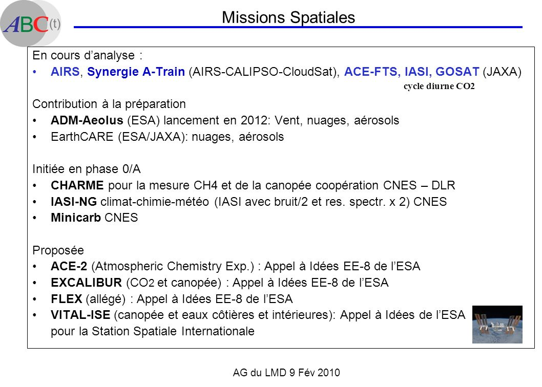 Missions Spatiales En cours d'analyse :