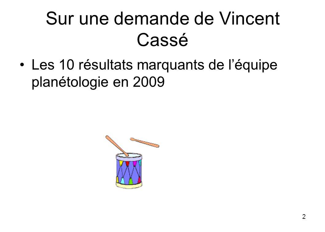 Sur une demande de Vincent Cassé