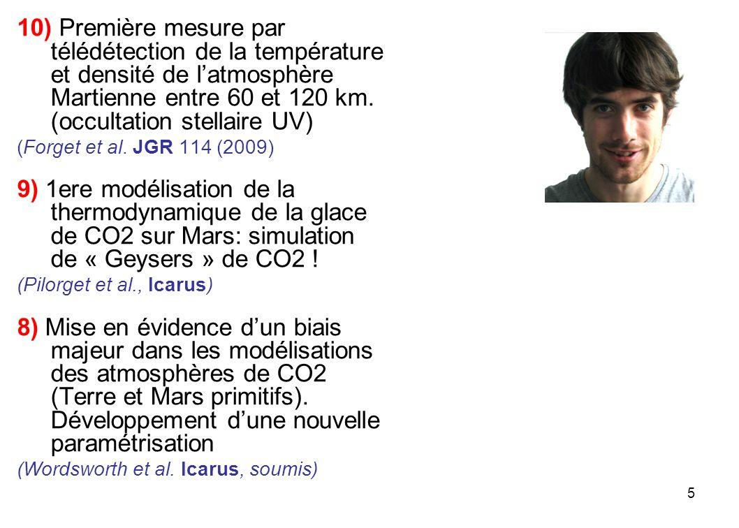 10) Première mesure par télédétection de la température et densité de l'atmosphère Martienne entre 60 et 120 km. (occultation stellaire UV)