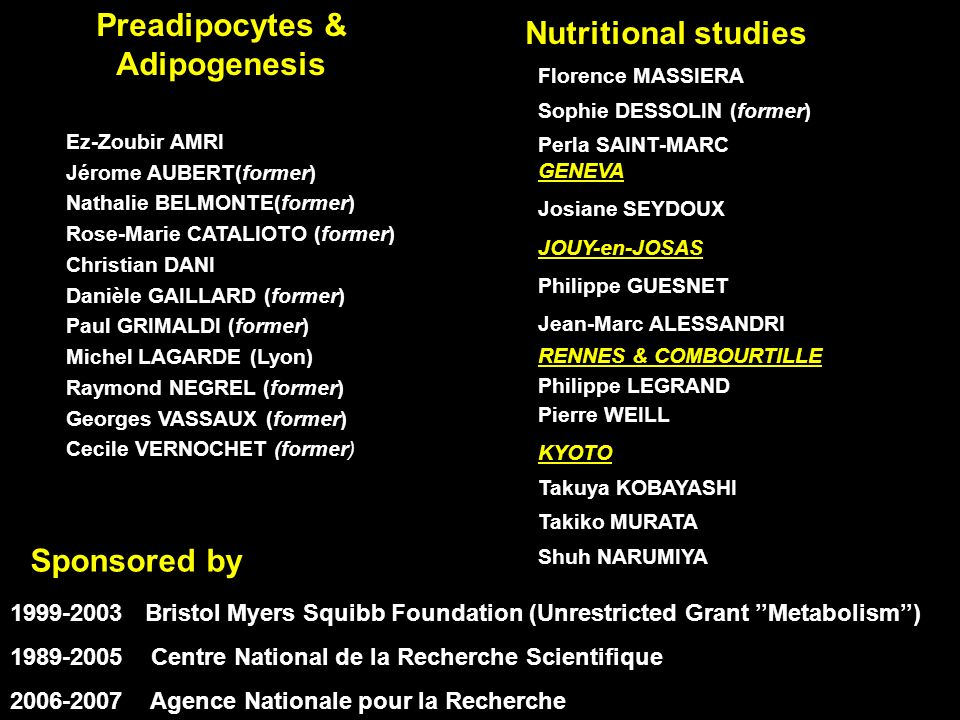Preadipocytes & Adipogenesis Nutritional studies