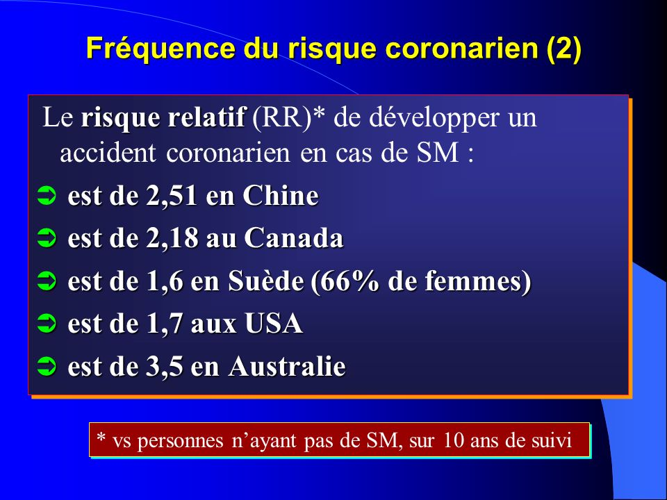Fréquence du risque coronarien (2)