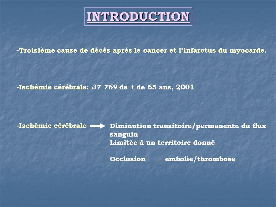 INTRODUCTION-Troisième cause de décès après le cancer et l'infarctus du myocarde. -Ischémie cérébrale: 37 769 de + de 65 ans, 2001.