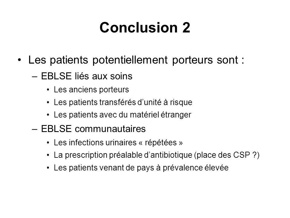 Conclusion 2 Les patients potentiellement porteurs sont :
