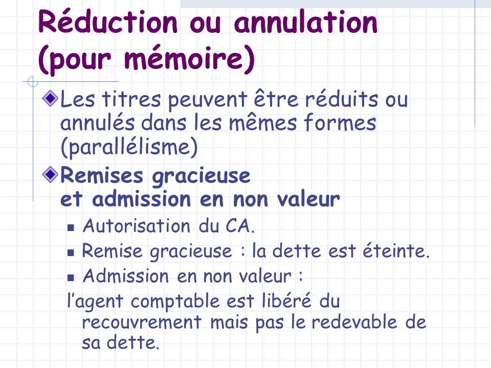 Réduction ou annulation (pour mémoire)