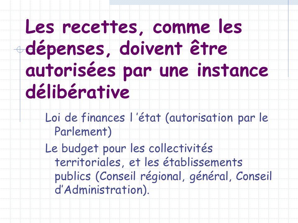 Les recettes, comme les dépenses, doivent être autorisées par une instance délibérative