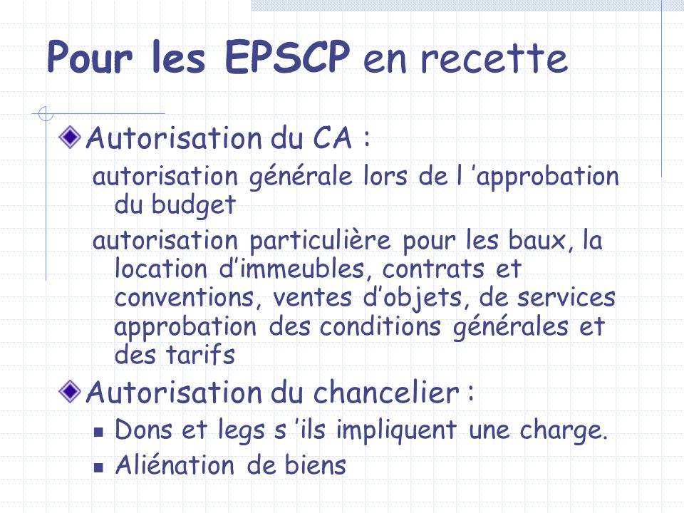 Pour les EPSCP en recette