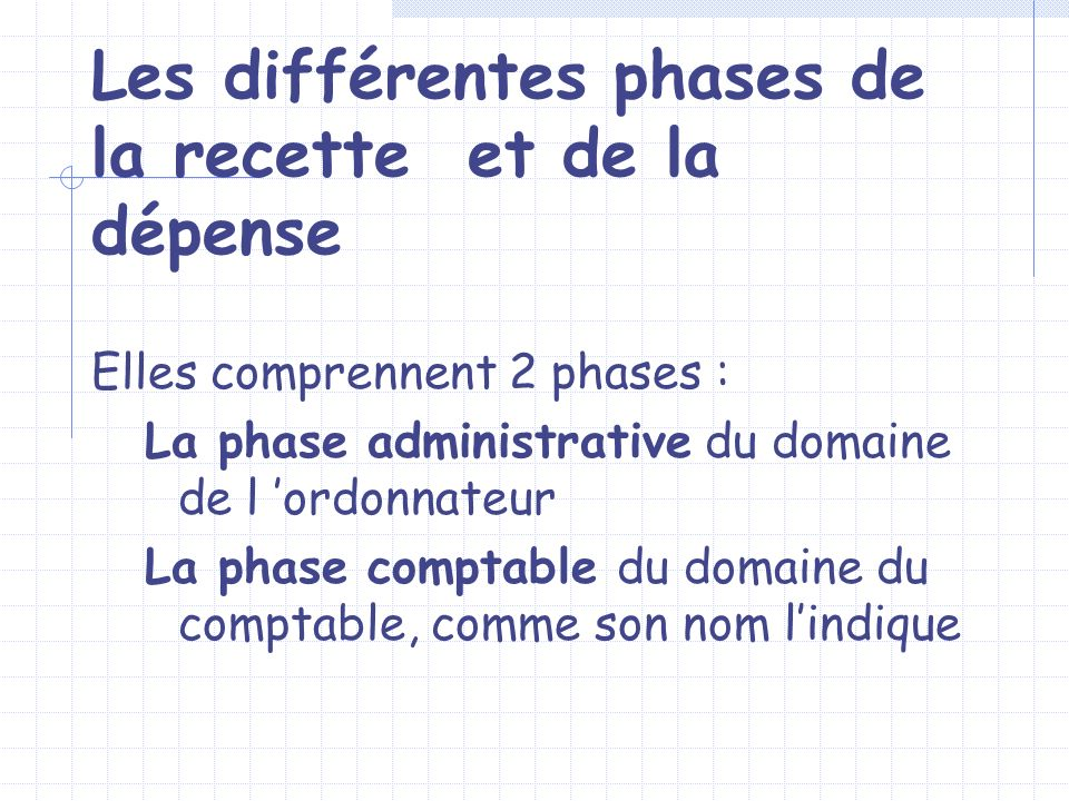 Les différentes phases de la recette et de la dépense