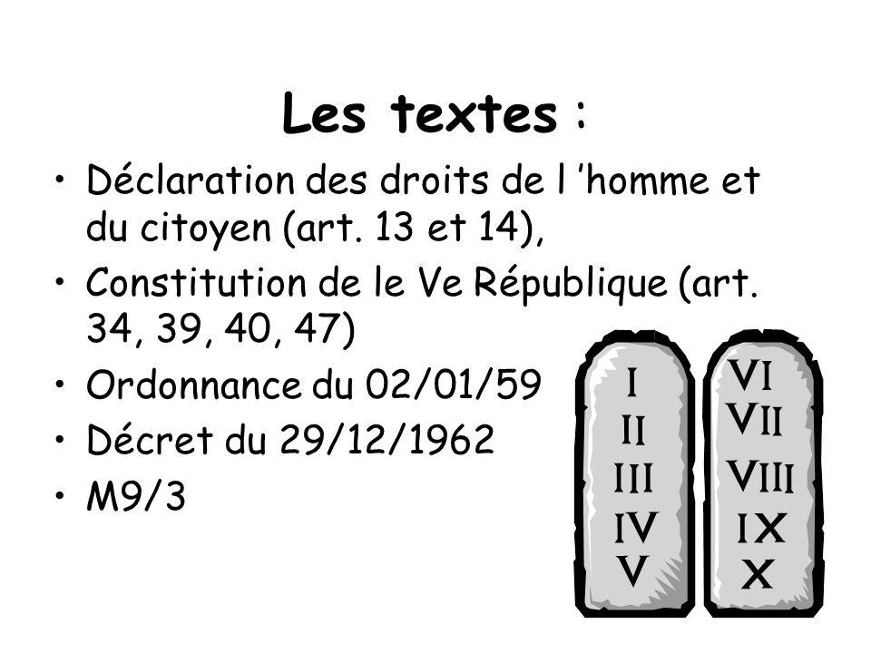 Les textes :Déclaration des droits de l 'homme et du citoyen (art. 13 et 14), Constitution de le Ve République (art. 34, 39, 40, 47)