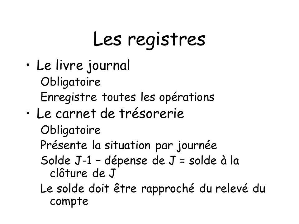 Les registres Le livre journal Le carnet de trésorerie Obligatoire