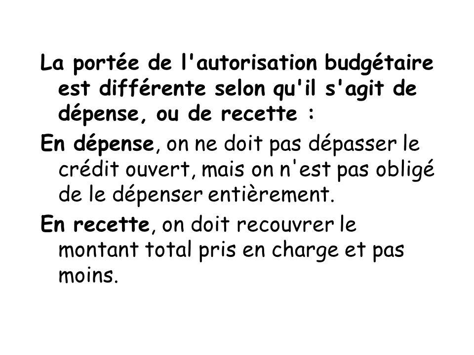 La portée de l autorisation budgétaire est différente selon qu il s agit de dépense, ou de recette :