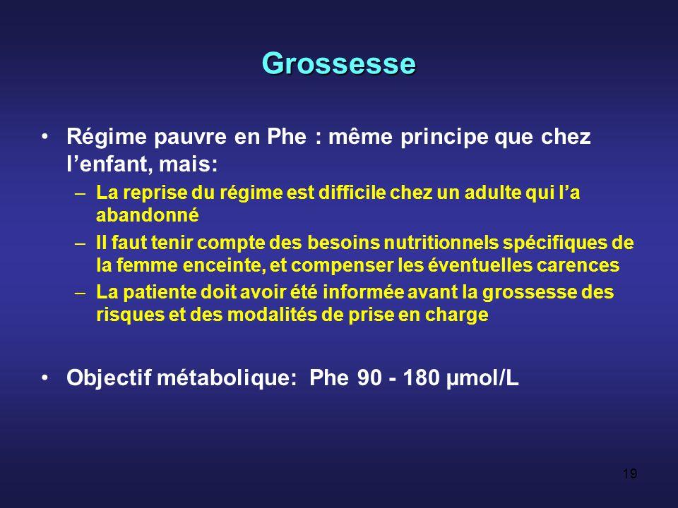 Grossesse Régime pauvre en Phe : même principe que chez l'enfant, mais: La reprise du régime est difficile chez un adulte qui l'a abandonné.