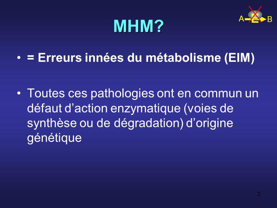 MHM E = Erreurs innées du métabolisme (EIM)