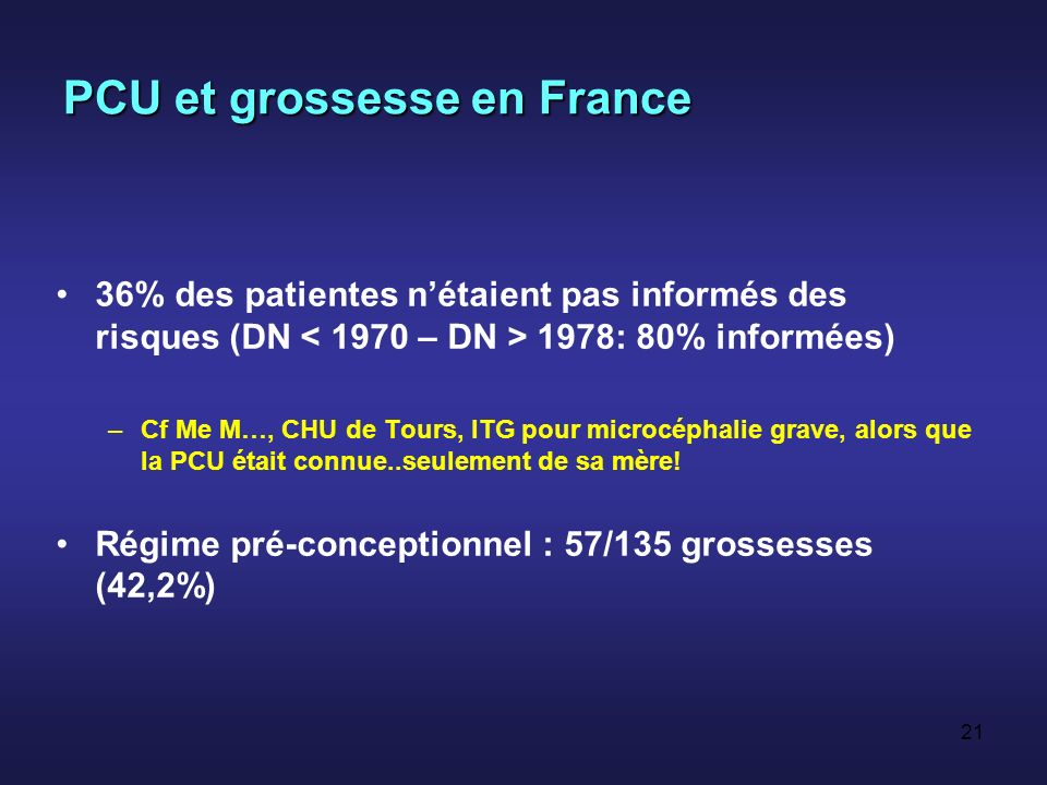 PCU et grossesse en France