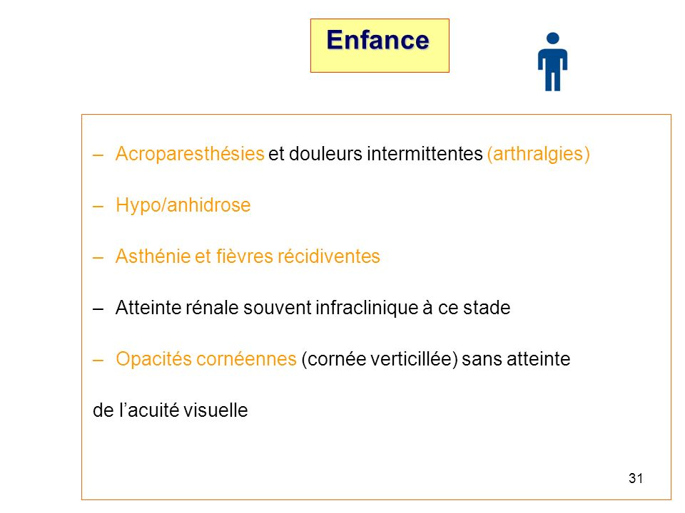 Enfance Acroparesthésies et douleurs intermittentes (arthralgies)