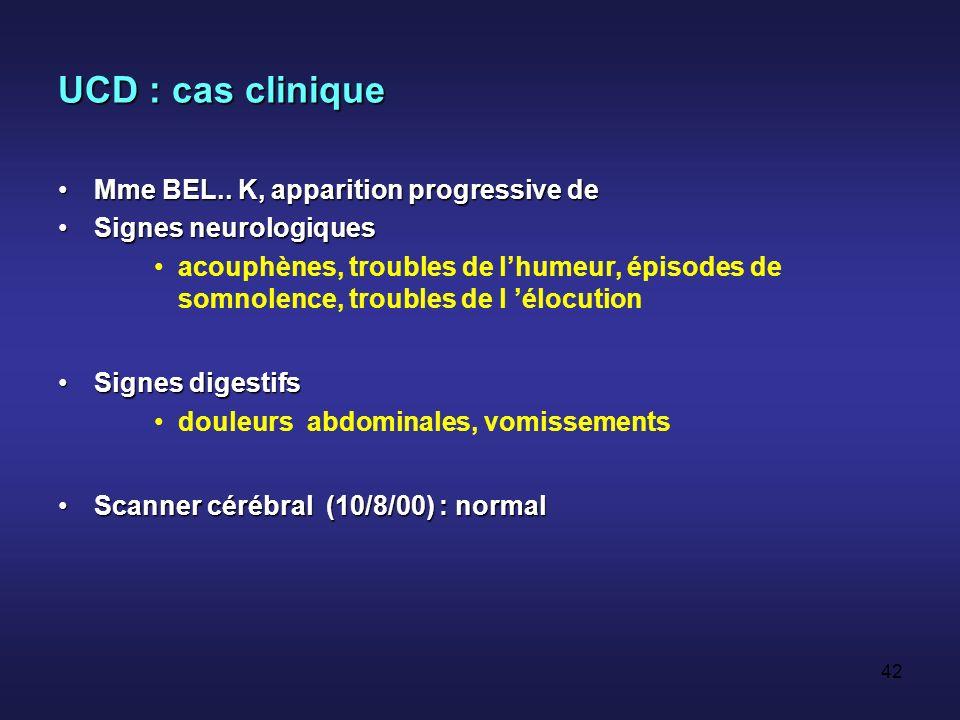 UCD : cas clinique Mme BEL.. K, apparition progressive de