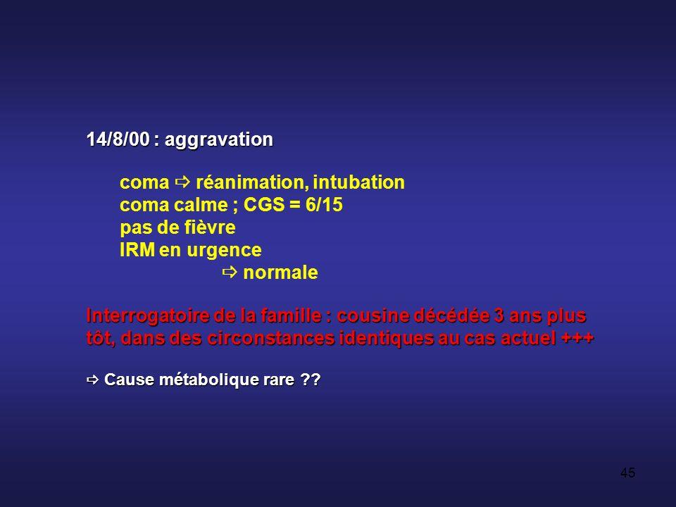 coma  réanimation, intubation coma calme ; CGS = 6/15 pas de fièvre