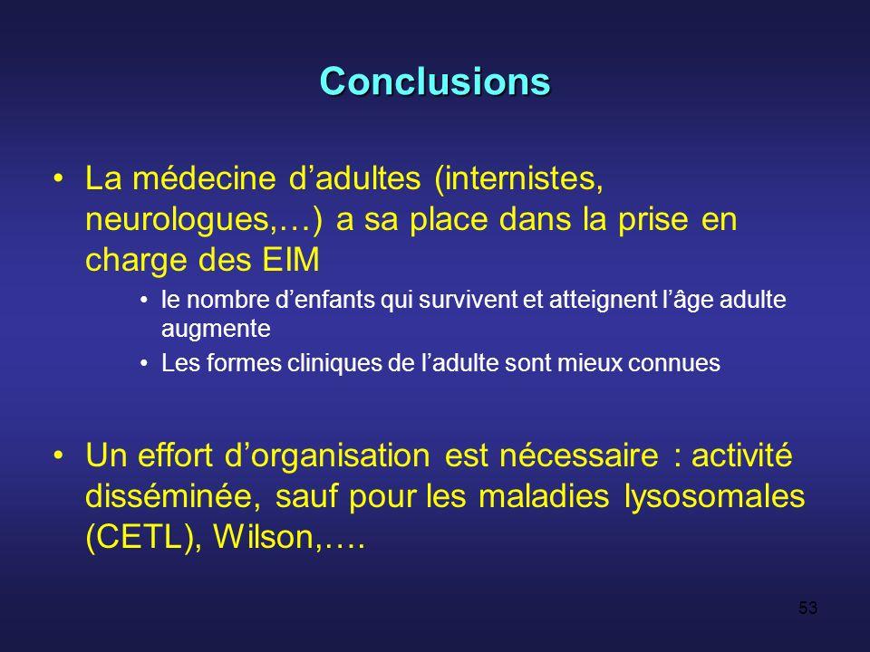 Conclusions La médecine d'adultes (internistes, neurologues,…) a sa place dans la prise en charge des EIM.