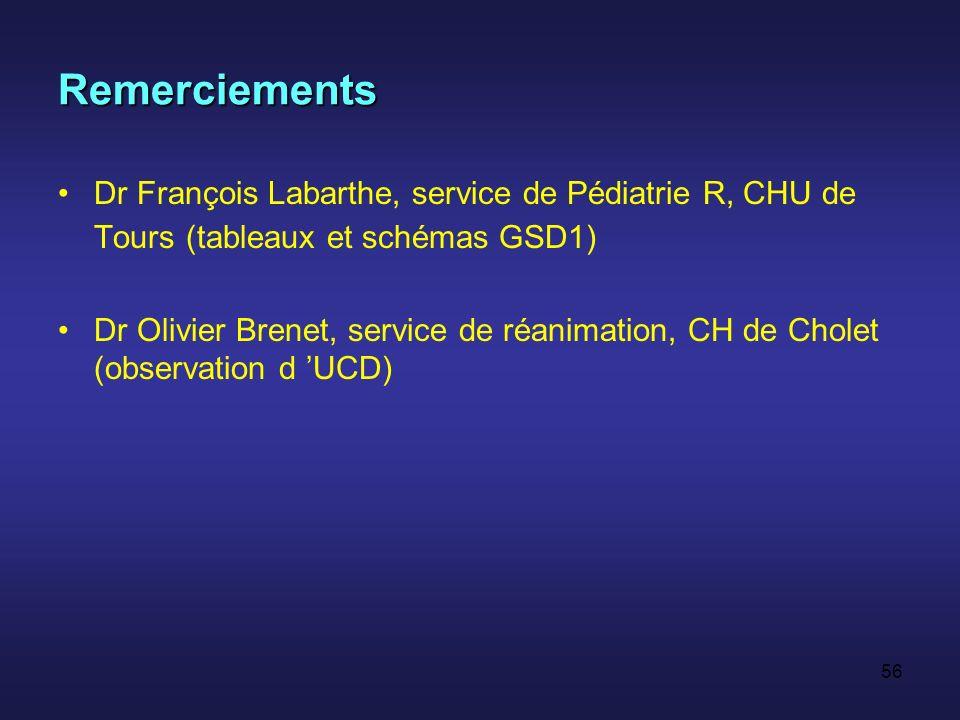 Remerciements Dr François Labarthe, service de Pédiatrie R, CHU de Tours (tableaux et schémas GSD1)