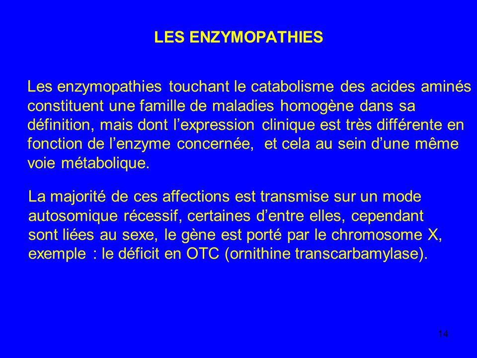 LES ENZYMOPATHIES Les enzymopathies touchant le catabolisme des acides aminés. constituent une famille de maladies homogène dans sa.