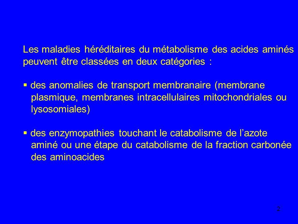 Les maladies héréditaires du métabolisme des acides aminés