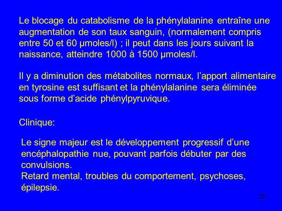 Le blocage du catabolisme de la phénylalanine entraîne une