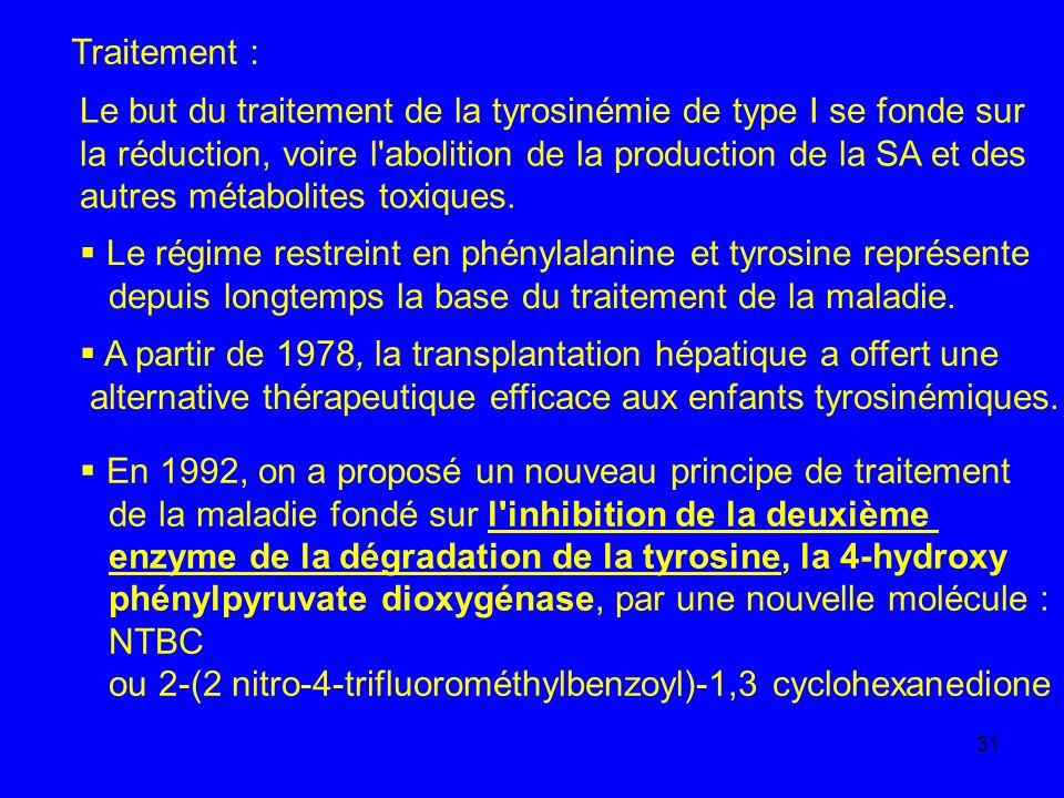 Traitement : Le but du traitement de la tyrosinémie de type I se fonde sur. la réduction, voire l abolition de la production de la SA et des.