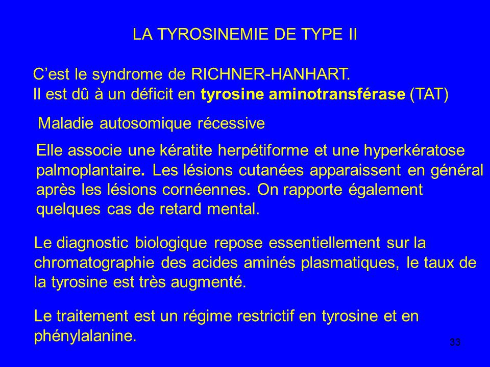 LA TYROSINEMIE DE TYPE II