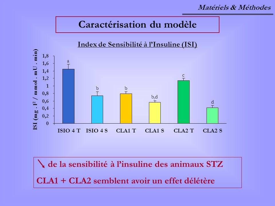 Caractérisation du modèle Index de Sensibilité à l'Insuline (ISI)
