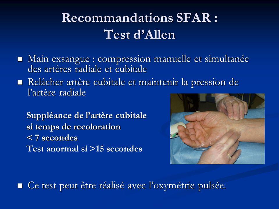 Recommandations SFAR : Test d'Allen
