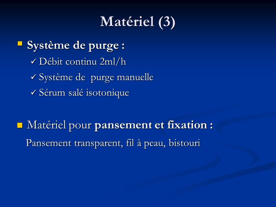 Matériel (3) Système de purge : Matériel pour pansement et fixation :