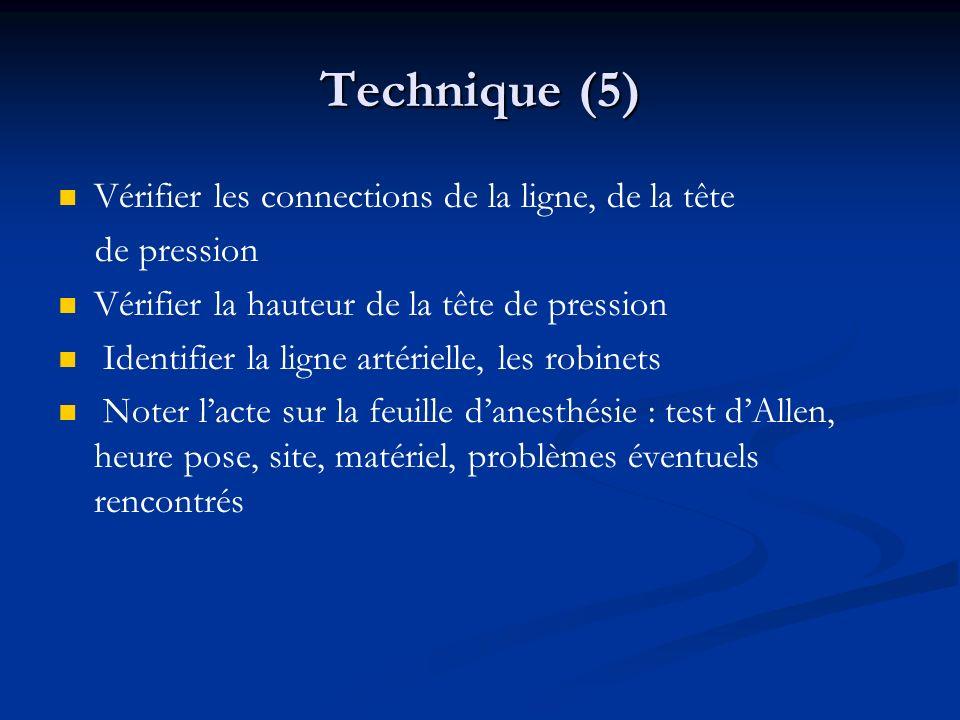 Technique (5) Vérifier les connections de la ligne, de la tête
