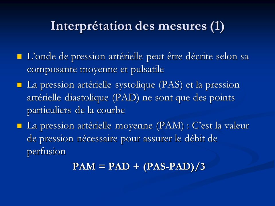 Interprétation des mesures (1)
