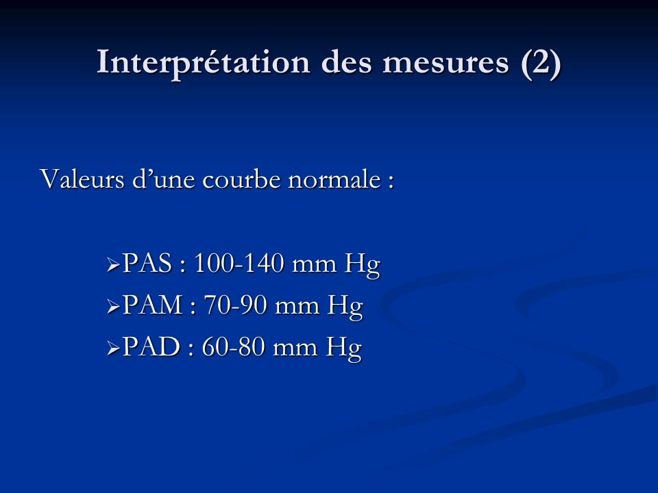Interprétation des mesures (2)