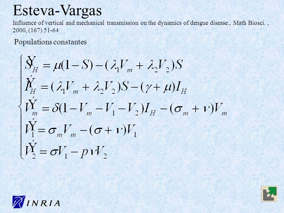 Esteva-Vargas Influence of vertical and mechanical transmission on the dynamics of dengue disease., Math Biosci. , 2000, (167) 51-64